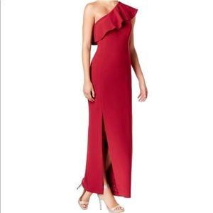 CALVIN KLEIN Ruffle One-Shoulder Side Slit Gown